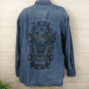 Harley Davidson Jean Shirt Button Up 2XL